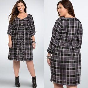 Torrid Black Plaid Button-Up Babydoll Shirt Dress